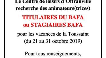RECHERCHE ANIMATEURS: CENTRE DE LOISIRS D'OFFRANVILLE