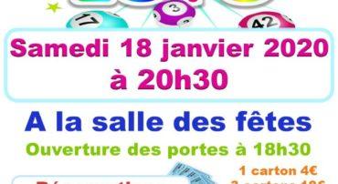 LOTO SAMEDI 18 JANVIER 2020 A 20H30 SALLE DES FETES