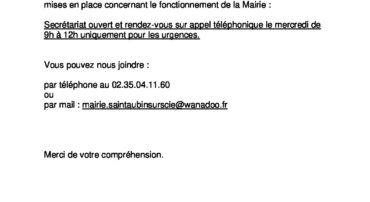 Permanences de la Mairie: consignes (COVID-19)