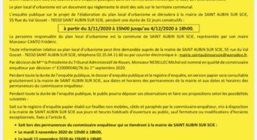 AVIS D'ENQUETE PUBLIQUE: ELABORATION DU PLAN LOCAL D'URBANISME